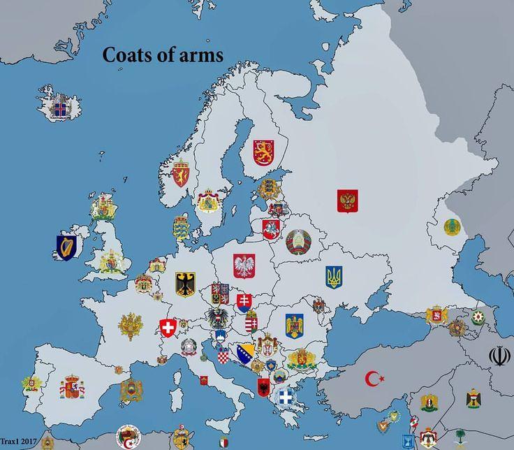Coats of Arms of European Countries ➖ Source: europe/Reddit ➖ #map #geography #history #economy #religion #demography #languages #asia #europe #germany #czechia #spain #finland #denmark #sweden #estonia #norway #france #italy #greece #romania #serbia #albania #ireland #latvia #lithuania #russia #ukraine #poland