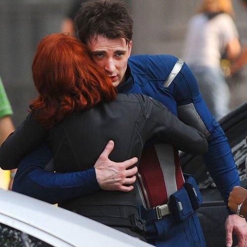 Captain America and Black Widow behind the scenes from Avengers movie