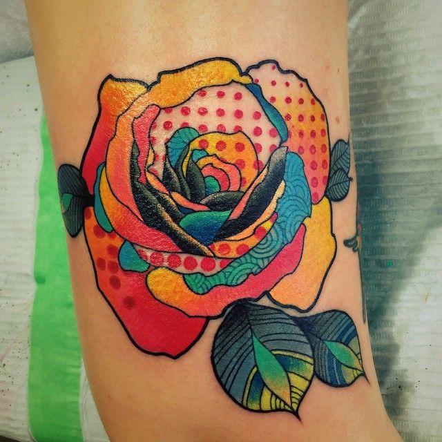Rose tattoo by Katie Shocrylas