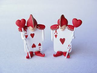 Cute miniature Alice in Wonderland Queen of hearts guards made from polymer clay and mixed media by fizzyclaret