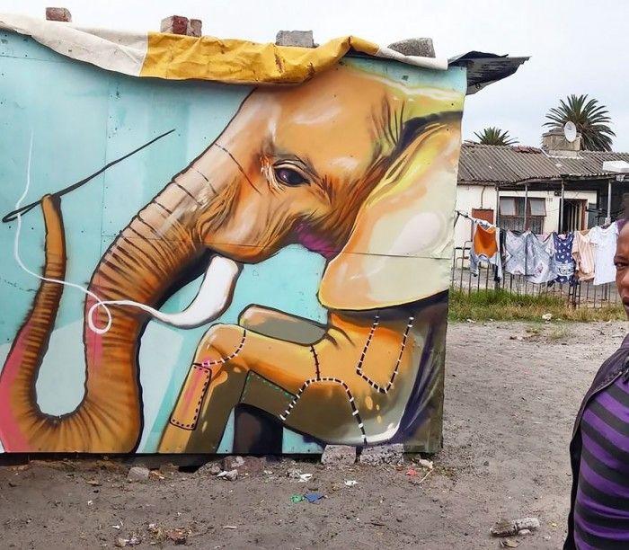 De magnifiques éléphants en street art dans des villages d'Afrique du Sud