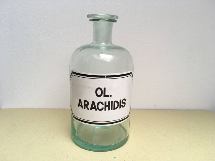 antique glass apothecary bottle Ol. Arachidis with vintage label medical curiosity by LieberVintage on Etsy