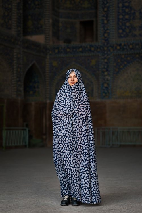 Iranian Woman in Printed Chador