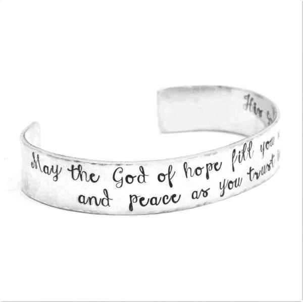 Romans 15:13 Sterling Silver Hand-Stamped Scripture Verse