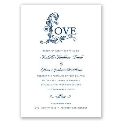 Davids Bridal Invitations Only Love - Marine - Invitation