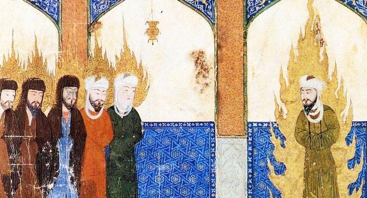 Manuscrit persan du Moyen Âge représentant le prophète Mahomet conduisant Jésus, Moïse et Abraham à la prière