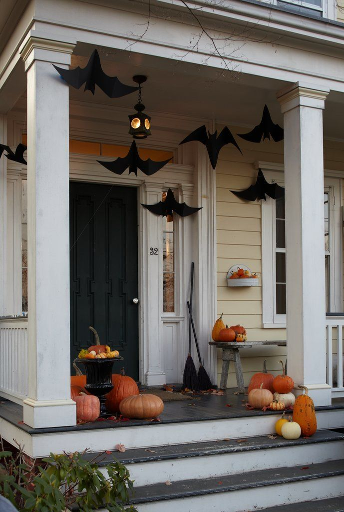 All you need to make these creepy hanging bats is this template and black construction paper.