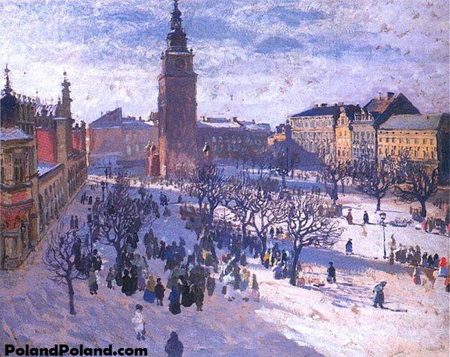 Market in Krakow - Józef Mehoffer - Rynek krakowski (1903)
