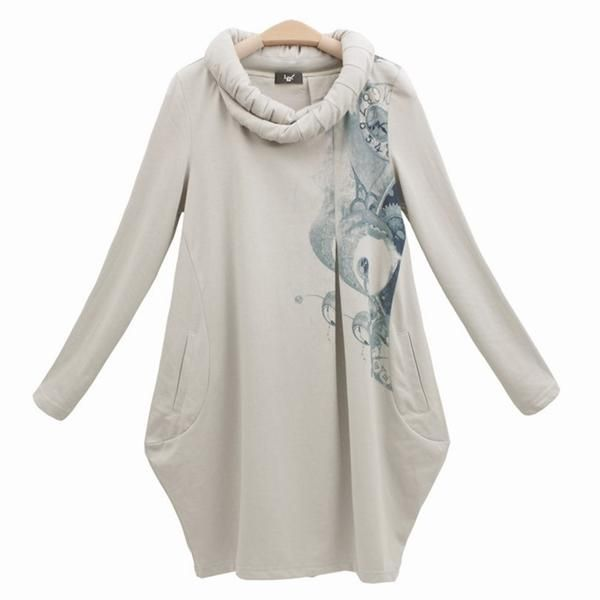 Trendy Tunic Tops for Women  LY Trendy Roll Collar Pocketed ...