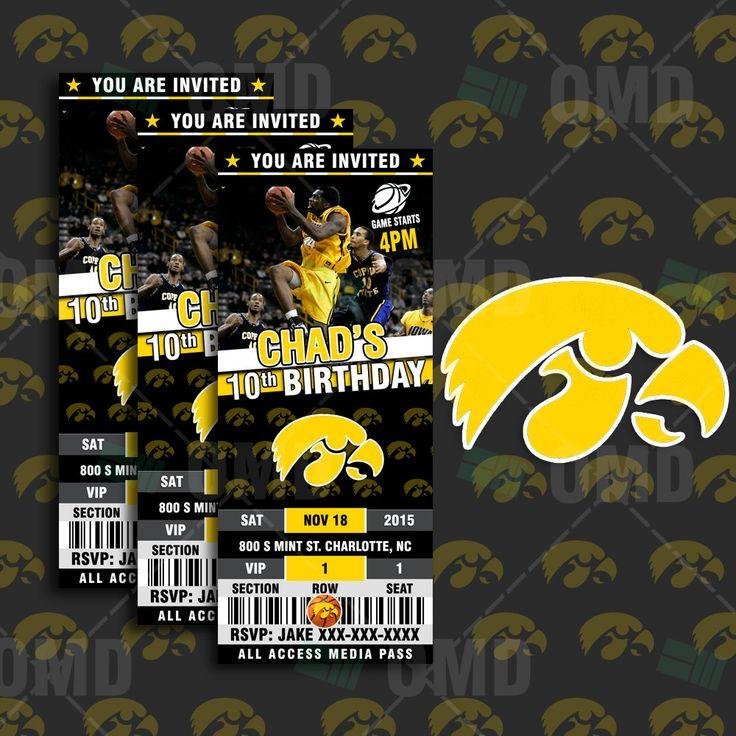 2.5x6 Iowa Hawkeyes Sports Party Invitation, Sports Tickets Invites, UI Basketball Birthday Theme Party Template by sportsinvites on Etsy