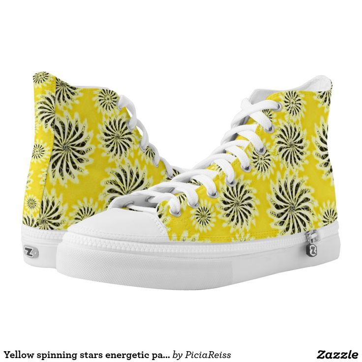 Yellow spinning stars energetic pattern shoes printed shoes