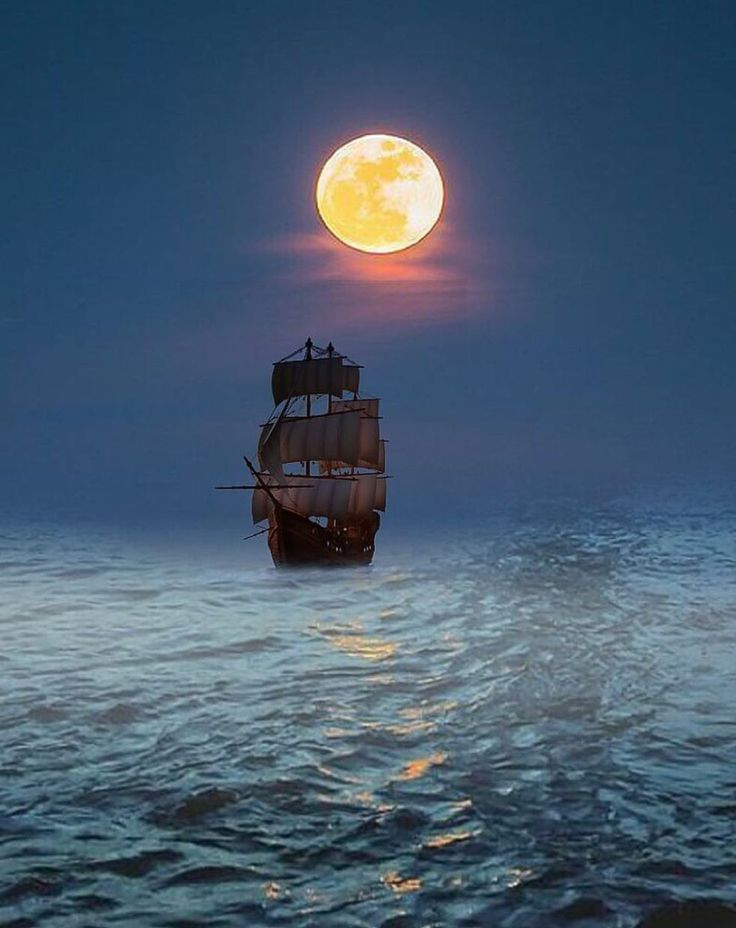 луна море корабль картинки