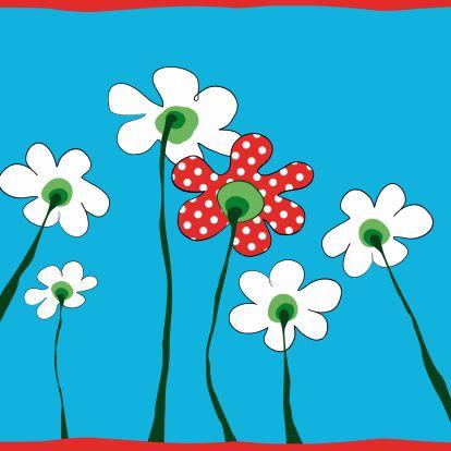 Kaartje met bloemetje met stippen - Geboortekaartjes - Kaartje2go