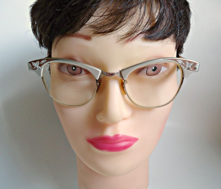 Vintage Eyeglass Frames Art Craft Etched Aluminum Gold Filled 1950's by treasurecoveally on Etsy