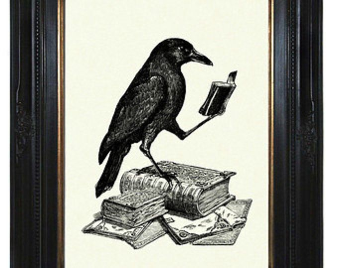 Halloween Raven Art Print Crow reading a Book Edgar Allan Poe Victorian Steampunk Gothic Art Print