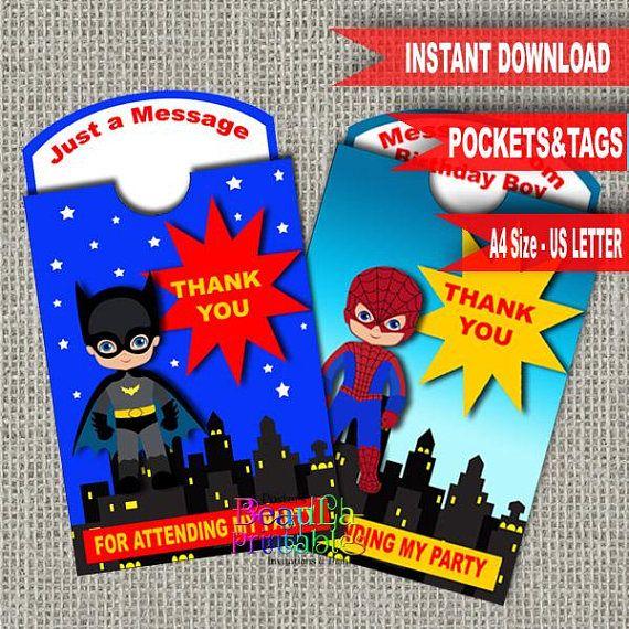 Superhero Birthday Tags Superhero Pocket tag Birthday Pocket