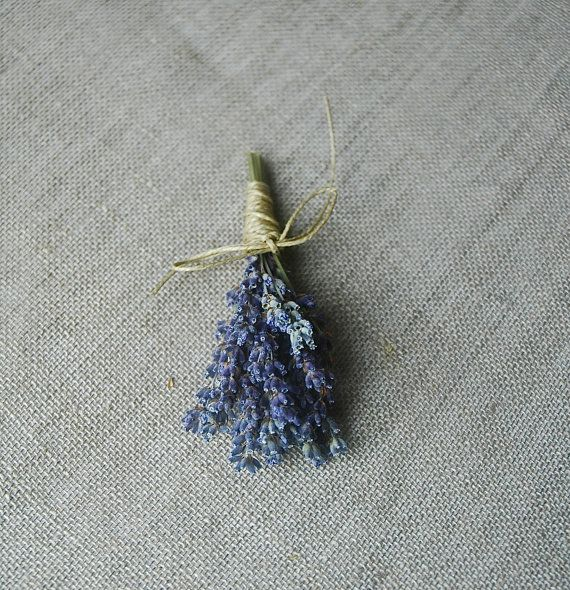 6 Fat Lavender Boutonniere with Custom Hemp by paulajeansgarden