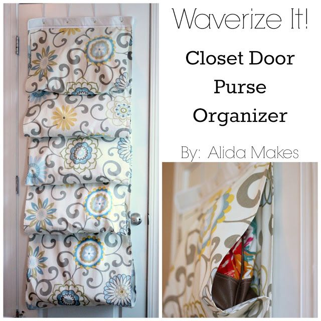This closet door purse organizer from @Alida Lee is such a great idea to hang your handbags!  @Waverly