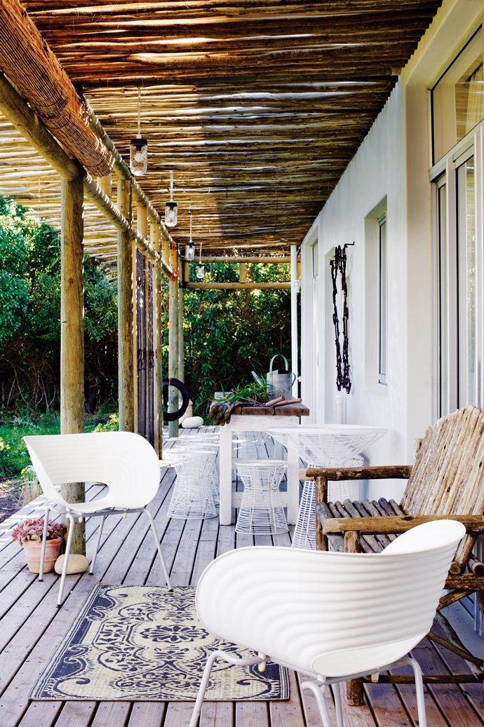 Beach house Noordhoek, South Africa  #beach #house #porch #balcony #wood #wooden #sea #cottage #leisure #chair #modern #living #white #ecclectic
