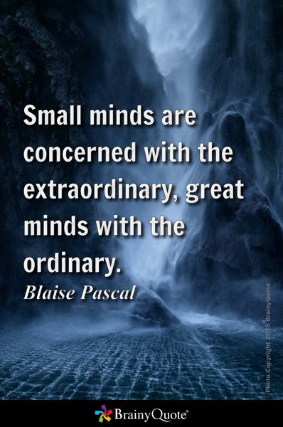 Small minds are concerned with the extraordinary, great minds with the ordinary. - Blaise Pascal