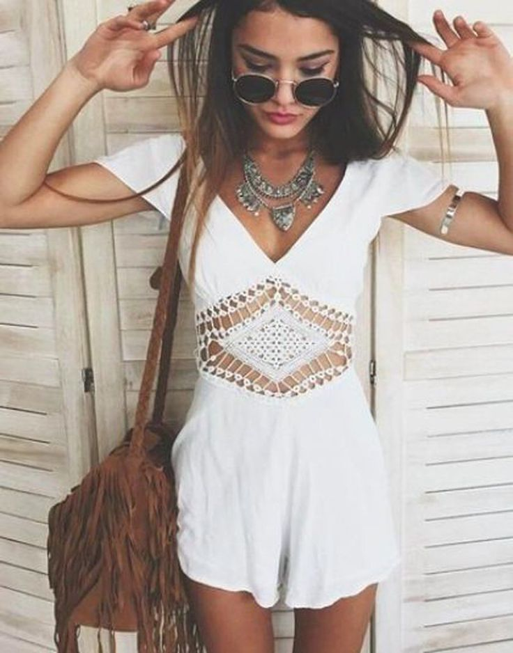 Spring 2017 Boho Chic Fashion Outfit Ideas - Indie Hippie Bohemian Style - Womens White Romper -  Fringe Drawstring Tassel Purse Bag - Jewelry & Accessories at MyBodiArt.com