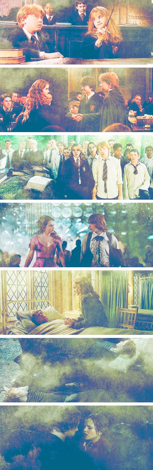 Ron & Hermione through the years ♥ see they belong together I totally do not ship Draco and Hermoine