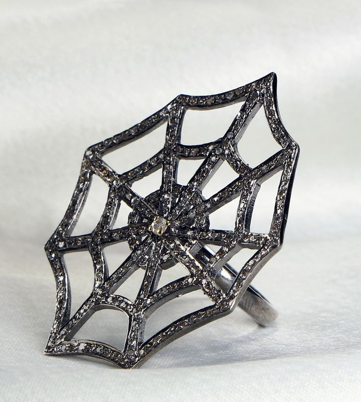Spider Web Design Ring in 925 Sterling Silver with Pave Diamonds