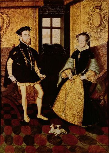 The marriage portrait of King Philip II of Spain and Queen Mary I of England, with their dogs.: