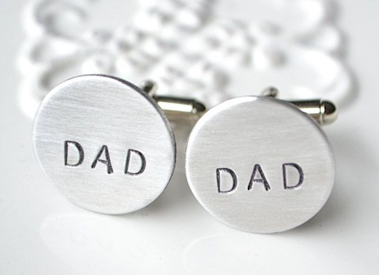 Dad hand stamped cufflinks - keepsake gift for father on fathers day, wedding day, father of the bride. $42.00, via Etsy.