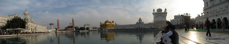Panorama of the Golden Temple at Amritsar. Also known as Harmandir Sahib or Darbar Sahib.