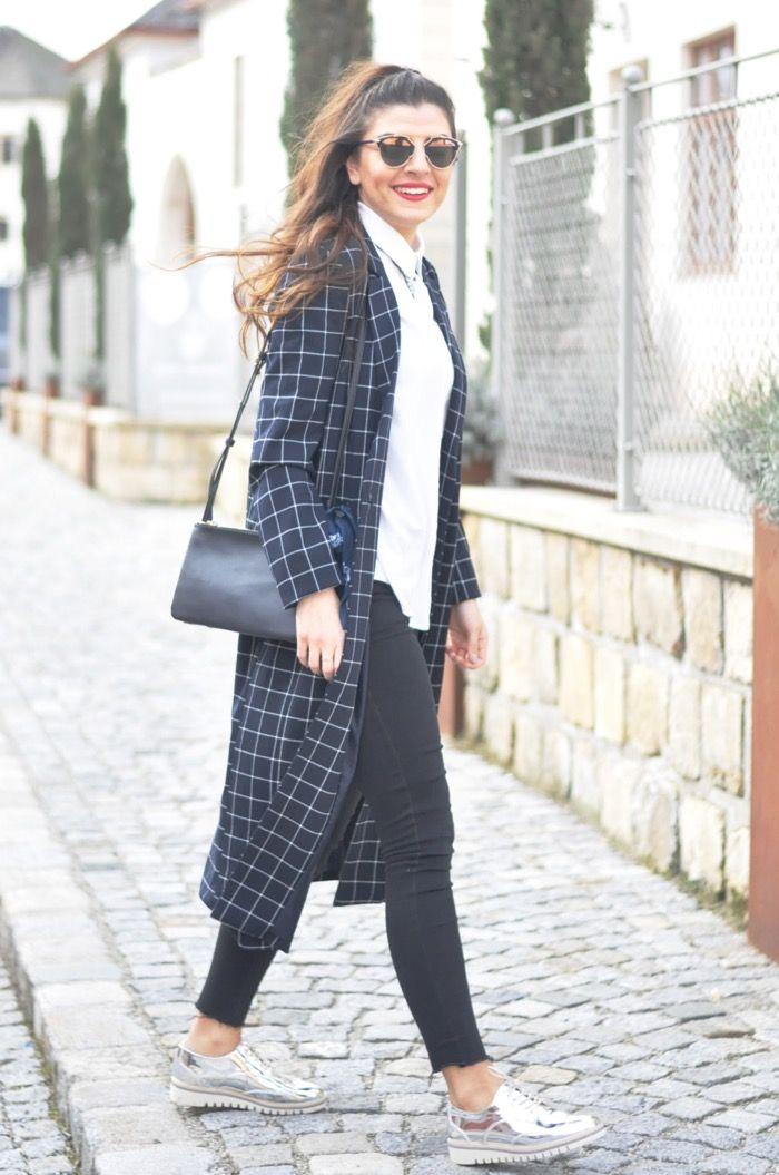 Navy Long Jacket + Black Jeans + Silver Oxford Shoes | Fashionnes