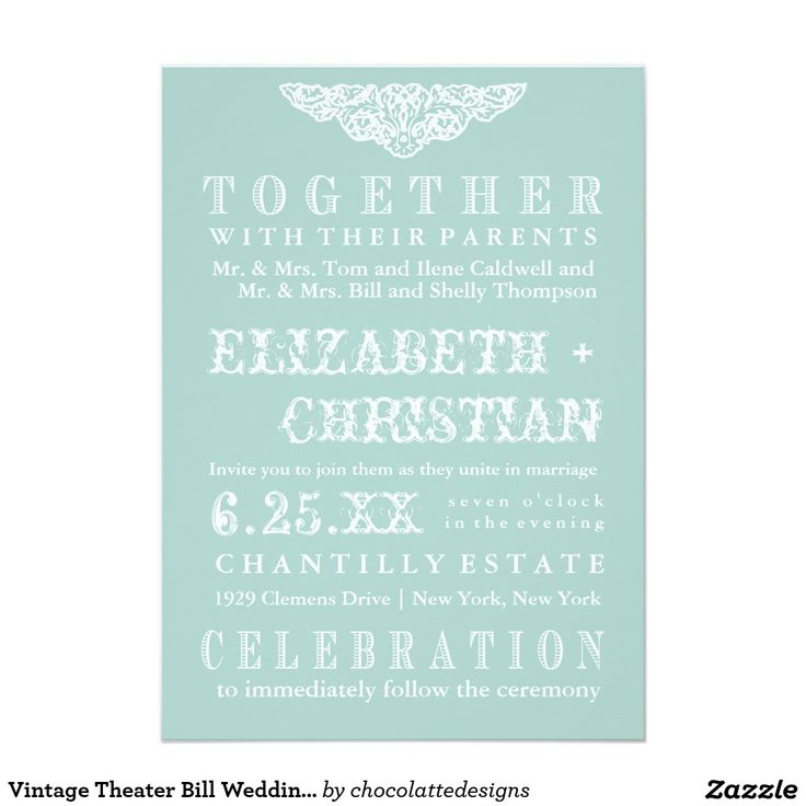 Vintage Theater Bill Wedding Invitation Ice Blue 5x7 Paper Card