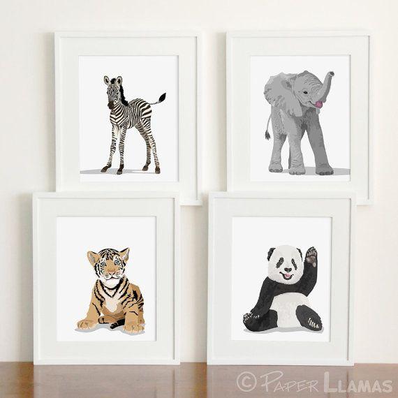 Baby Tier Kindergarten Kunst moderne von PaperLlamas auf Etsy
