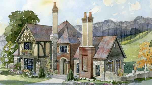 Fireside cottage new south classics llc southern for English tudor cottage house plans