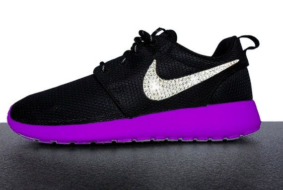 Nike Roshe Run Black Custom Purple Sole Paint with Swarovski Crystals Swoosh