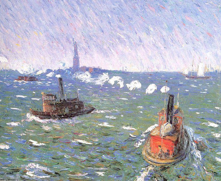 Breezy Day Remorqueurs port de New York, 1910 de William James Glackens (1870-1938, United States)