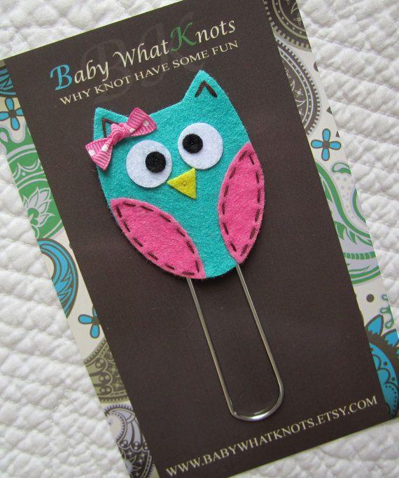 Kids Girls Blue Owl Bookmark Felt Owl Bookmark by babywhatknots, $6.00