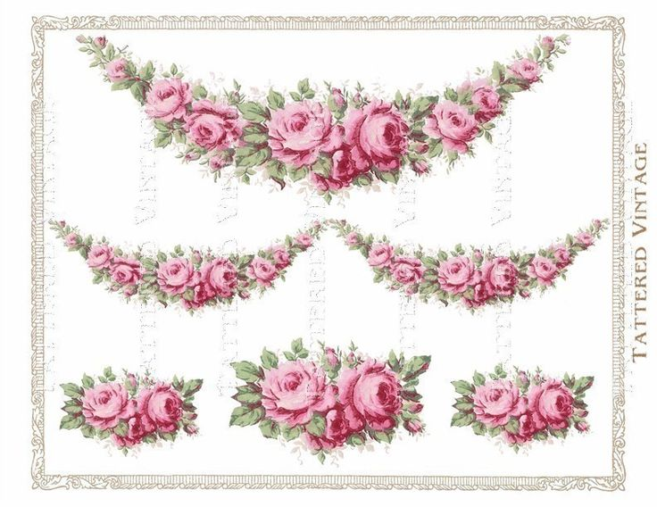 Pink Roses Garland Instant Download no.231 PNG Transfer Decals Antique Wallpaper Collage Sheet  231PNG. $5.25, via Etsy.