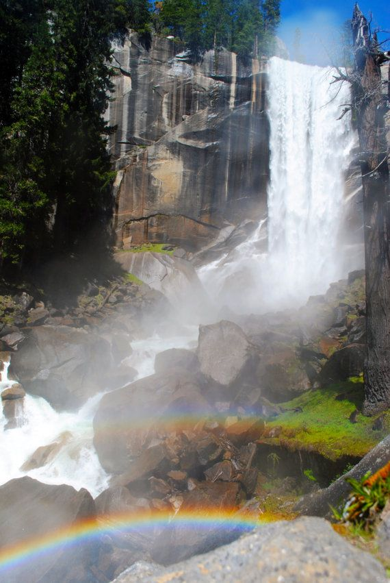 Vernal Falls in Yosemite with double rainbow print available on Etsy.