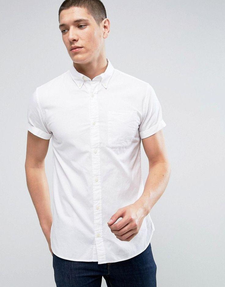 Jack & Jones Premium Slim Short Sleeve Oxford Shirt - White