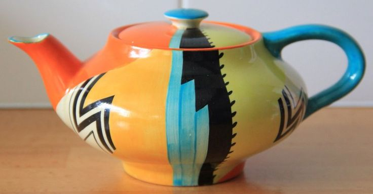 1930s Art Deco Grays Pottery Abstract Jazz A336 Teapot Susie Cooper Interest