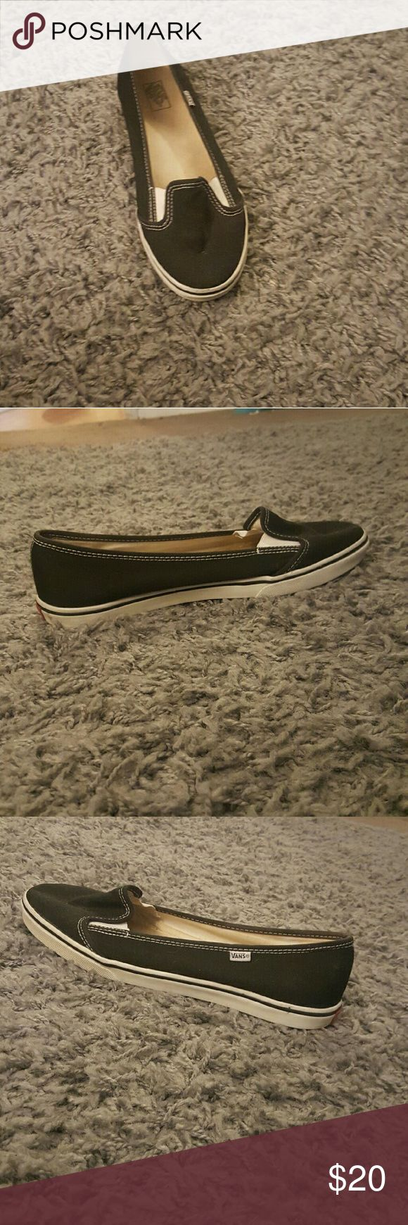 Vans ballerina flats size 9 Vans flats white and black used but great condition . Super hard to find this color anywhere. Usually they only have the all black ones now. Size 9 in women. Vans Shoes