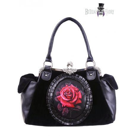 Kabelka RED ROSE je vyrobena ze silného černého sametu a umělé kůže v gotik stylu.