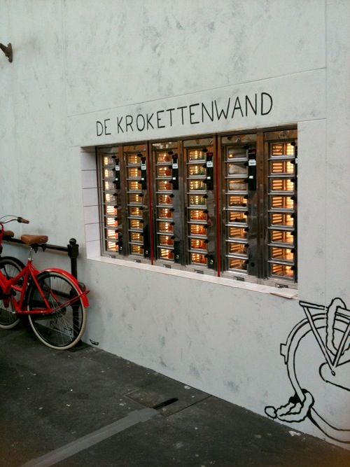 Eating 'kroketten' out of a vending machine wall? Typically Dutch! #greetingsfromnl