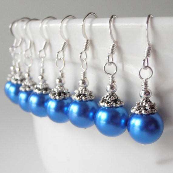 Horizon Blue Bridesmaid Jewelry Blue Pearl by FiveLittleGems, $14.00 http://www.etsy.com/listing/103776595/horizon-blue-bridesmaid-jewelry-blue