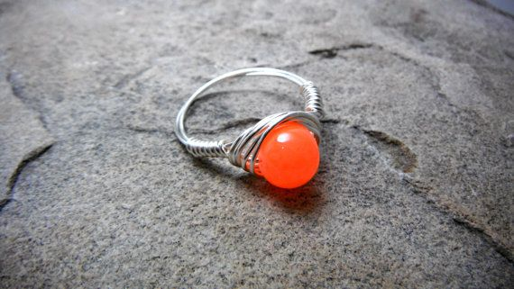 Neon Orange Ring Wire Wrapped Ring Neon Ring by CaravanOfBeads, $15.00