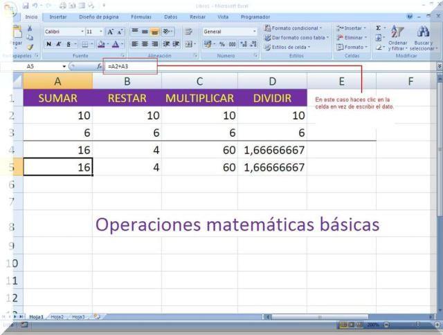 Fórmulas matemáticas básicas en las hojas de cálculo Excel y otras.