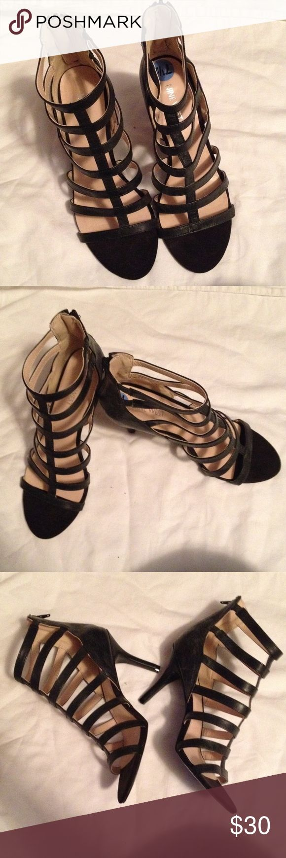 Nine West heels Worn once. Perfect condition. I simply don't have much purpose for them. They are gorgeous and deserved to be worn out and about all summer. Nine West Shoes Heels