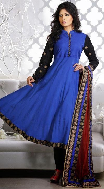 Blue Faux Georgette Anarkali Style Salwar Kameez