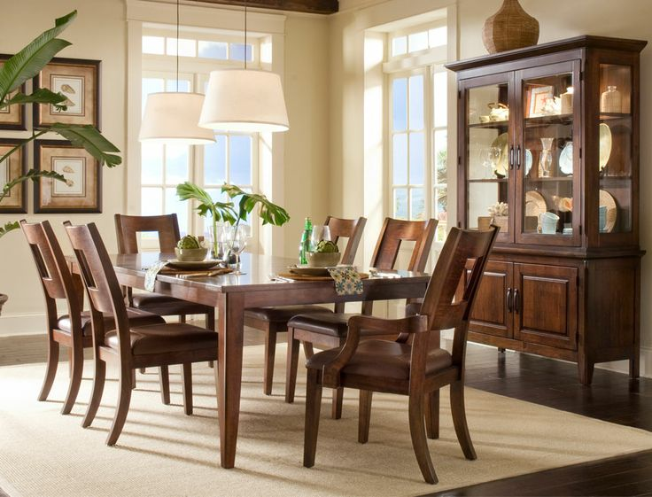 Klaussner Furniture Carturra 7 Piece Dining Table Set In Distressed Chocolate